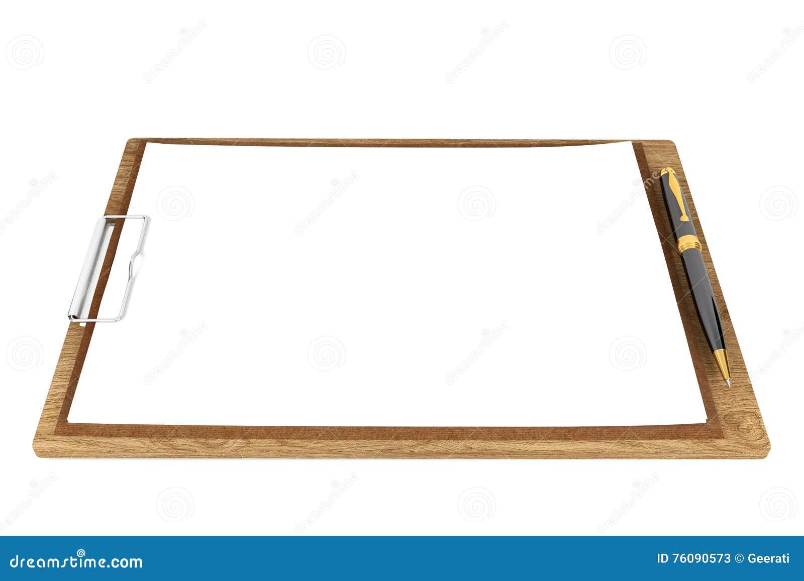 Presse-papiers en bois avec les papiers blancs et stylo bille avec l espace de copie pour la moquerie d isolement sur le fond bla