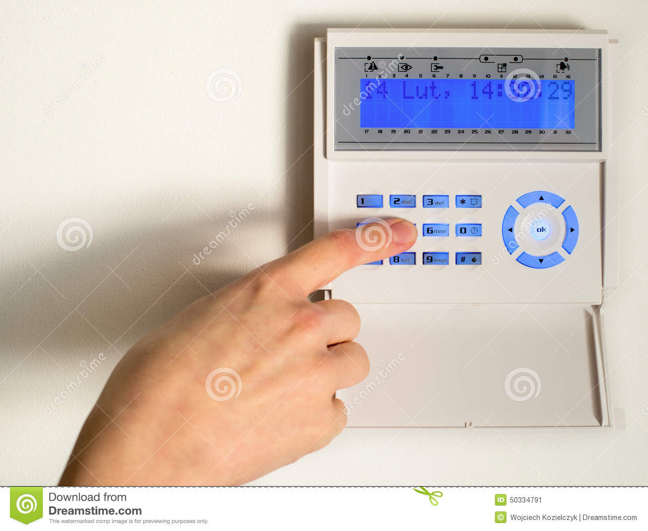 Pressing The Code On A House Alarm Stock Image Of Robbery Security System
