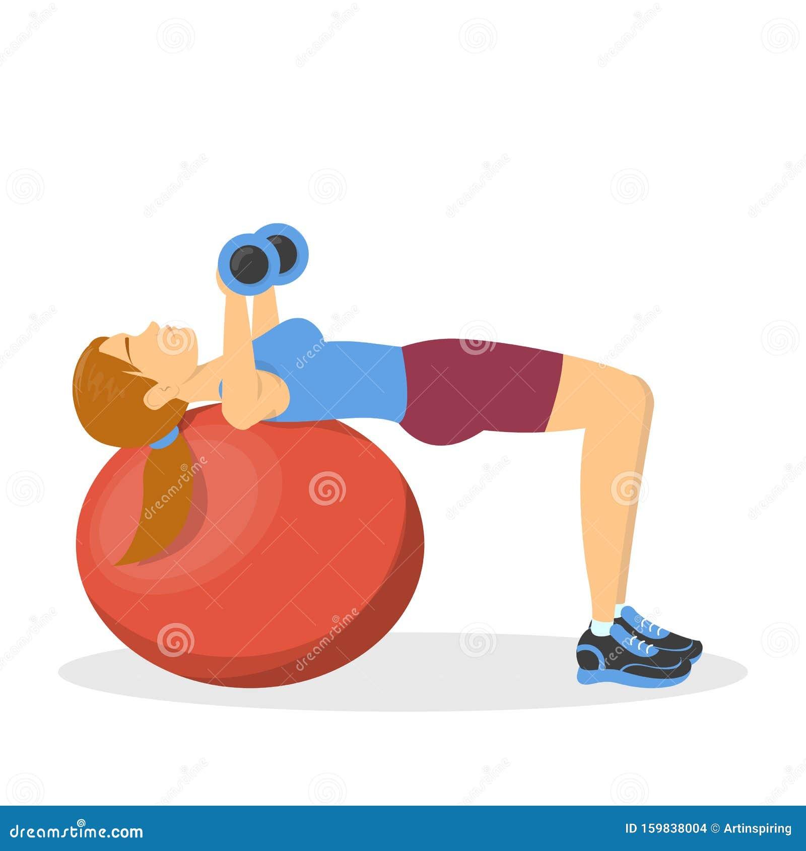 Pression Sur Banc Sur Le Ballon De Fitness, Exercice Pour ...