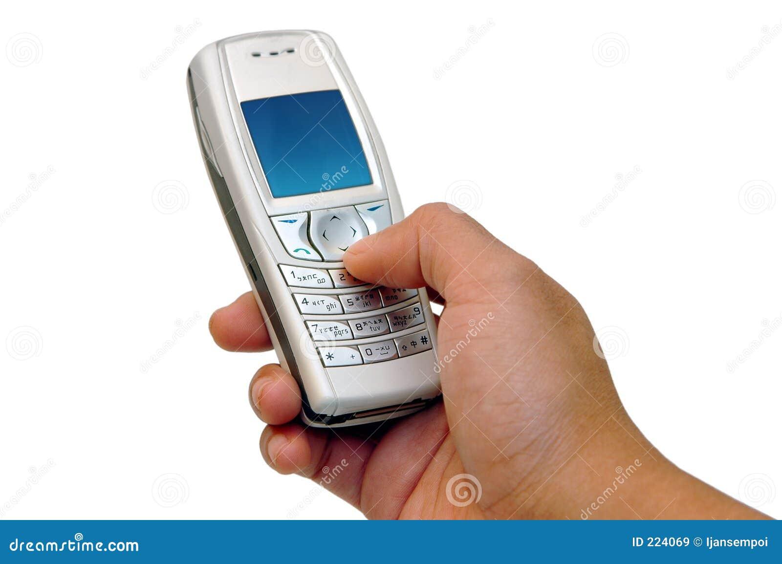 Pressionando as teclas de telefone de pilha