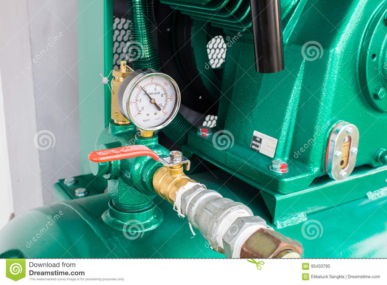 The Pressure Gauge, In The Pneumatic System. Stock Image - Image of ...