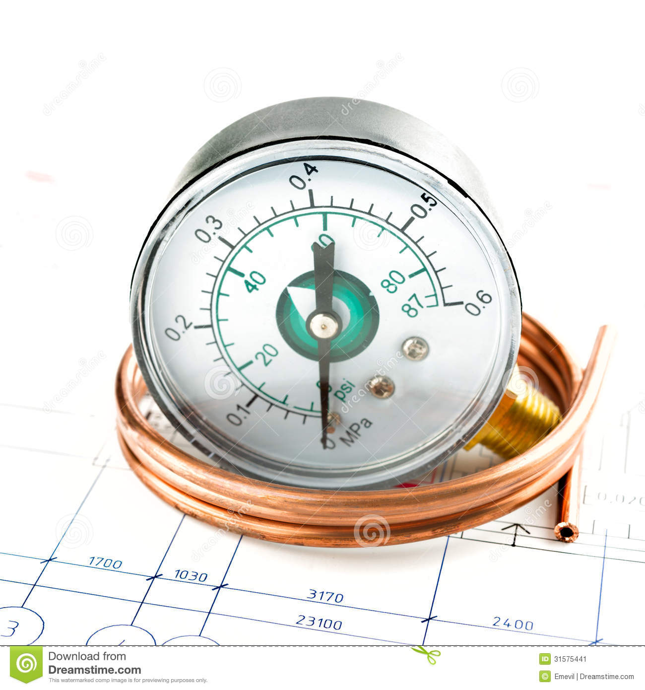 Pressure Measuring Instruments : Pressure measure tools stock image