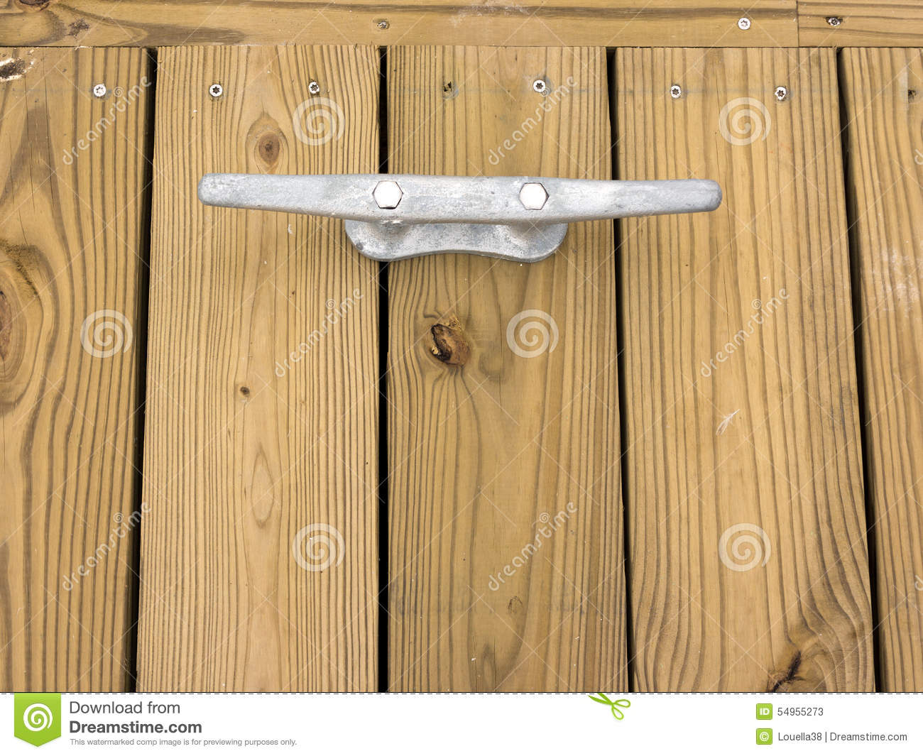 Pressure Treated Decking With Dock Cleat Stock Image - Image