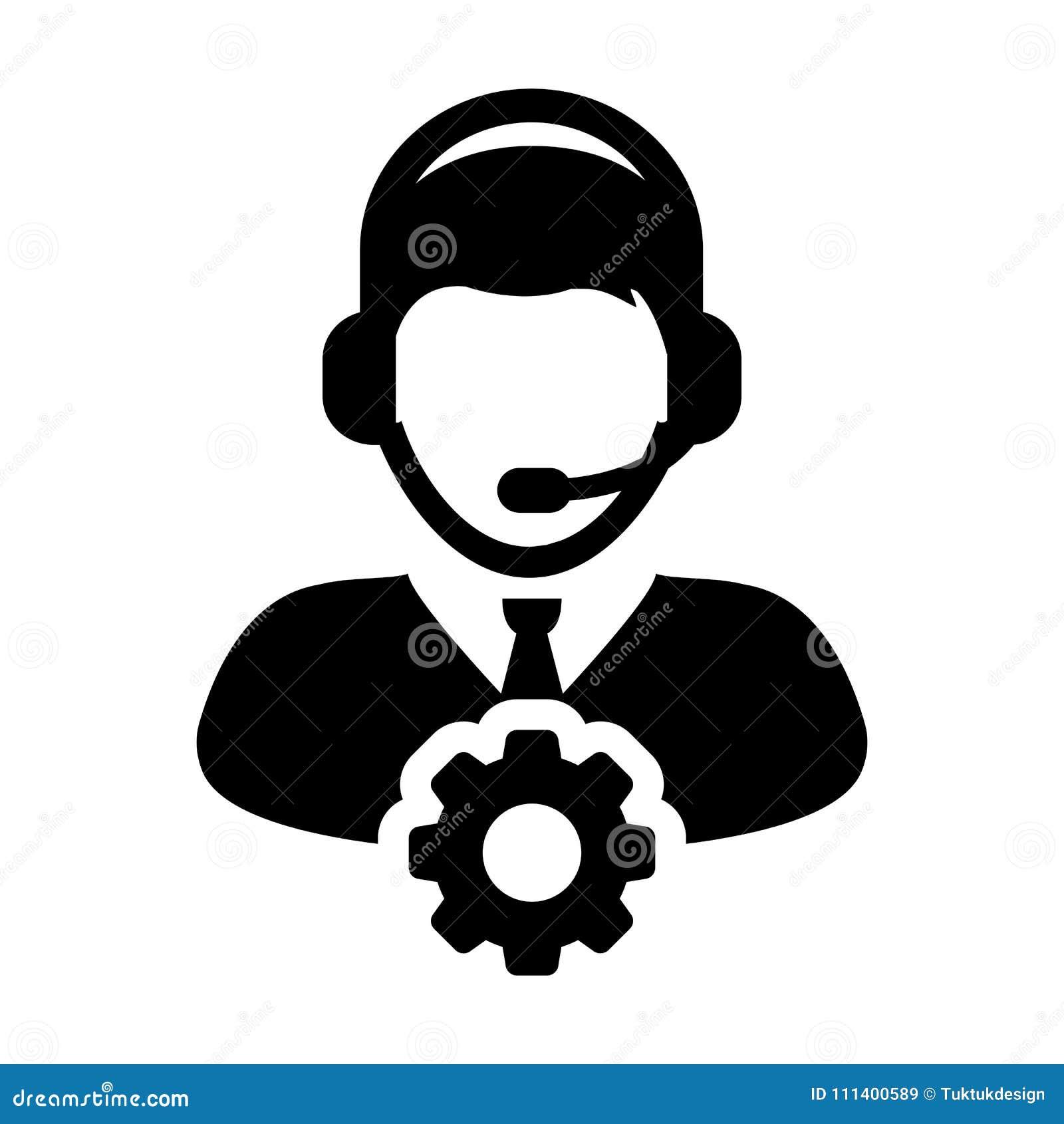 Preste serviços de manutenção ao operador masculino Person Profile Avatar do vetor do ícone com a roda denteada da engrenagem