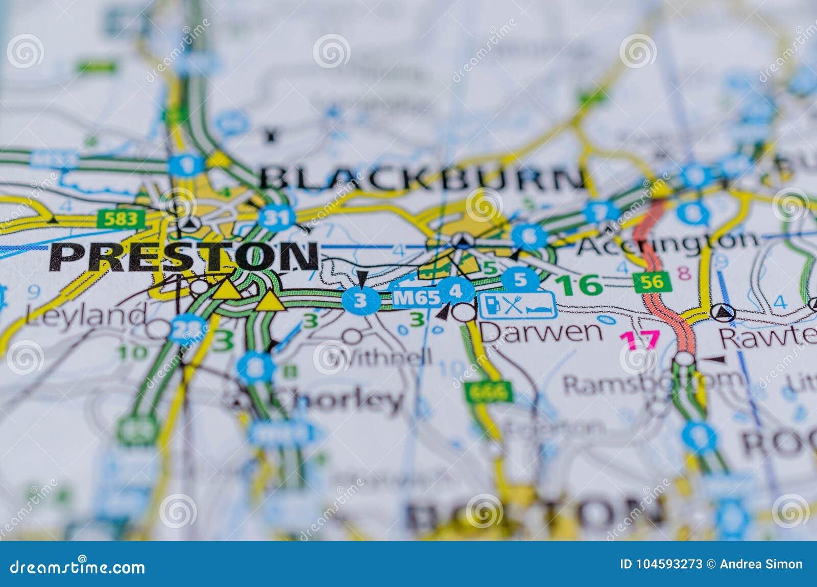 Preston England Map.Preston On Map Stock Image Image Of Background Navigation 104593273