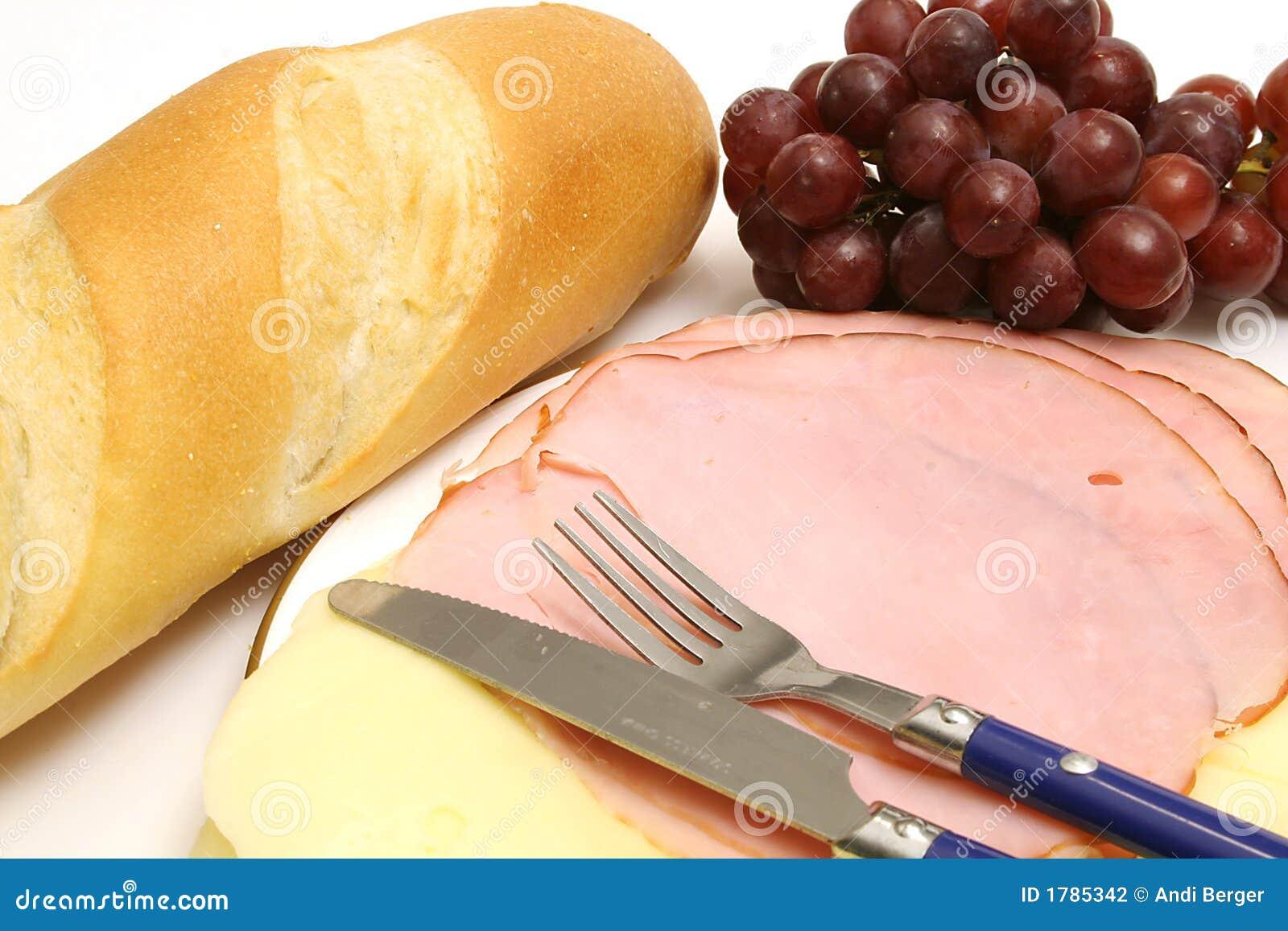Presunto & queijo w/bread & uvas