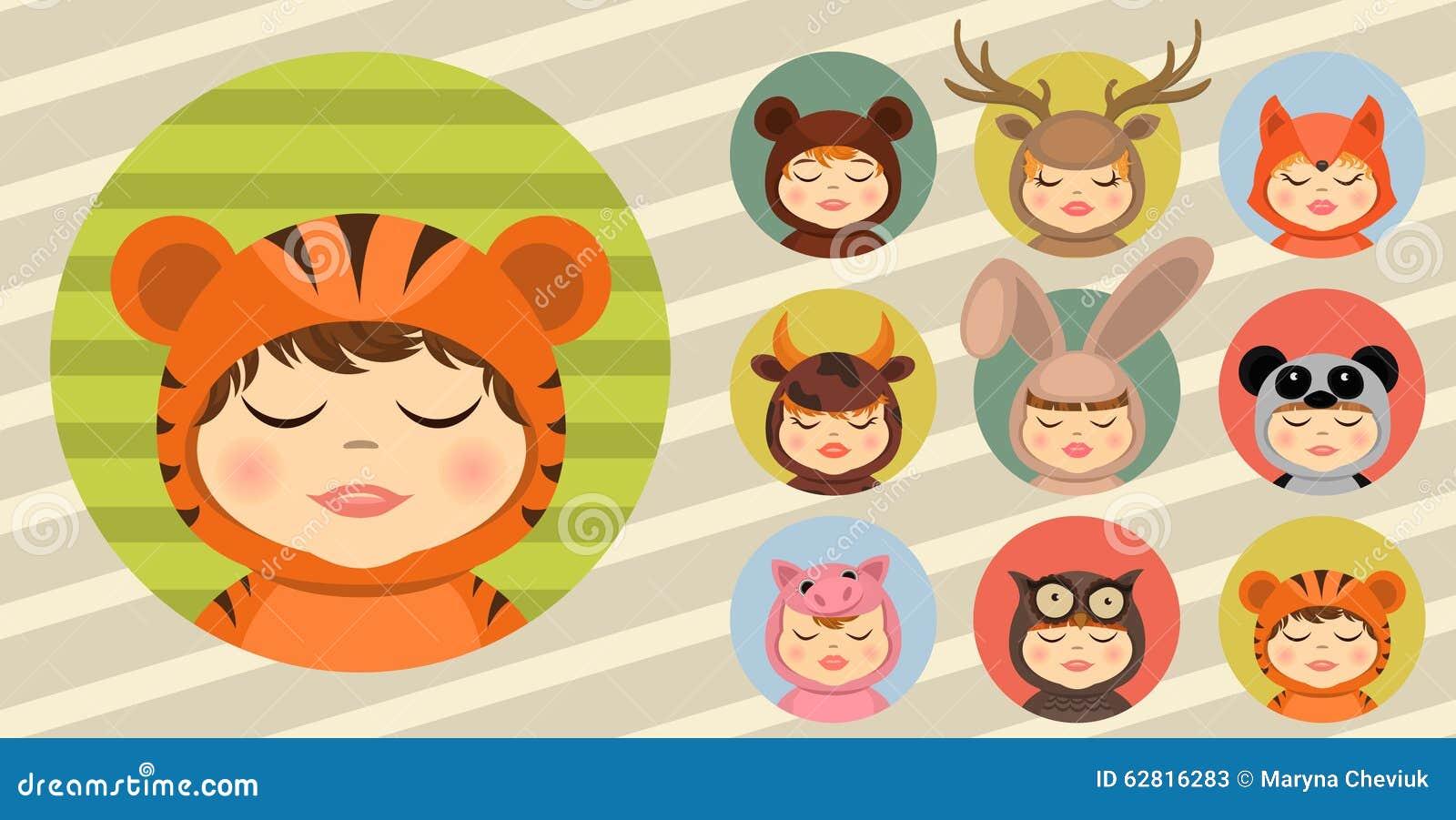 Pret dierlijke kostuums, geplaatst avatars