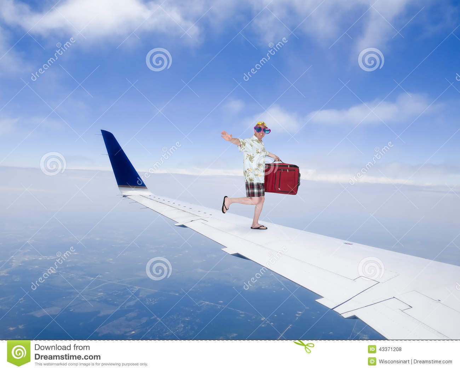 Pret En Grappige Toeristenreis Die Op Vliegtuig Jet Wing Vliegen