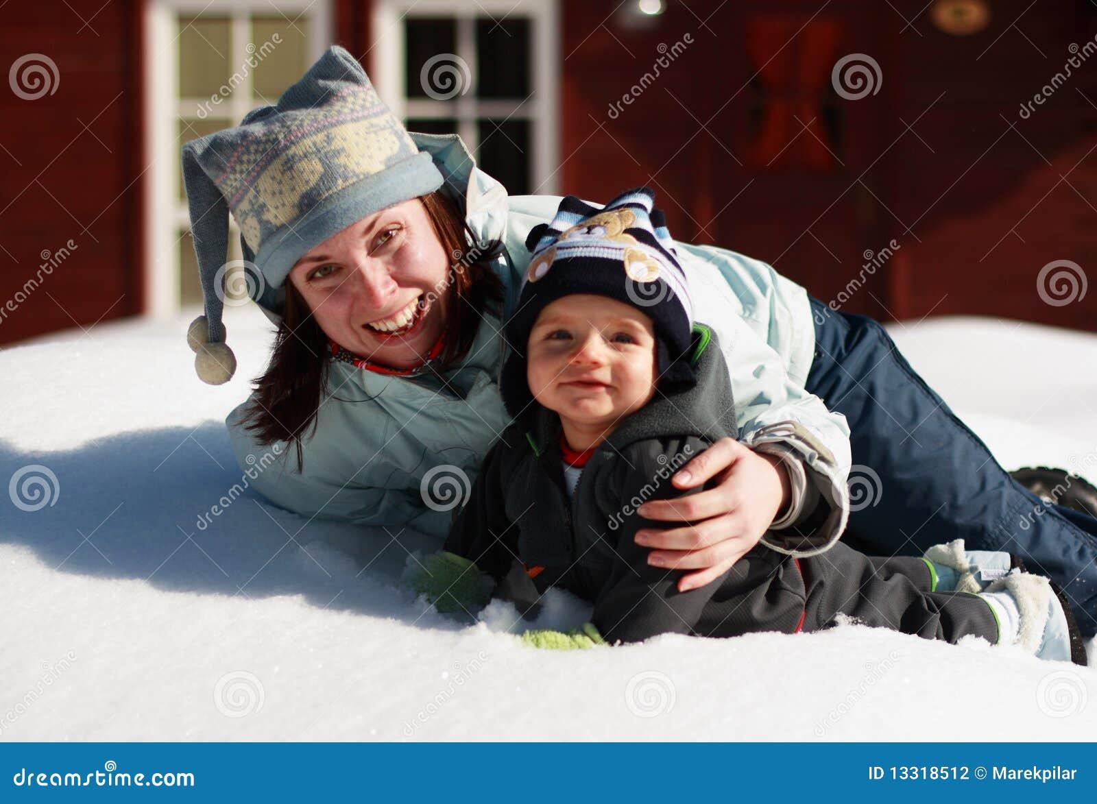 Pret op de sneeuw