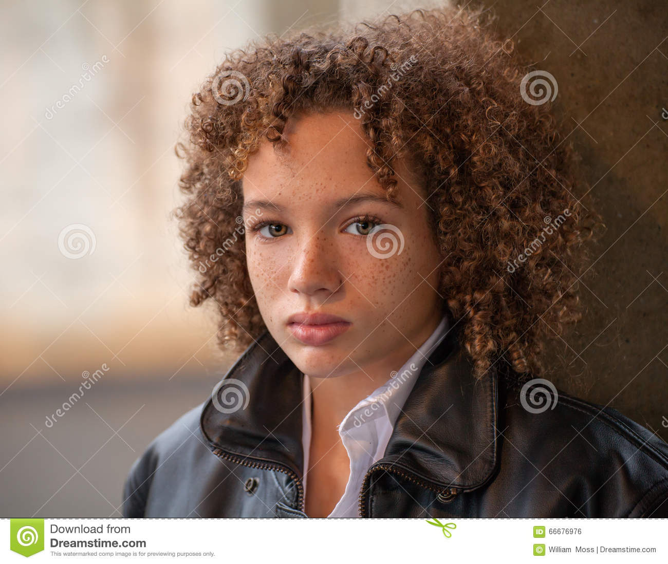 Preteen Boy In Leather Jacket Stock Photo Image Of Biracial Race