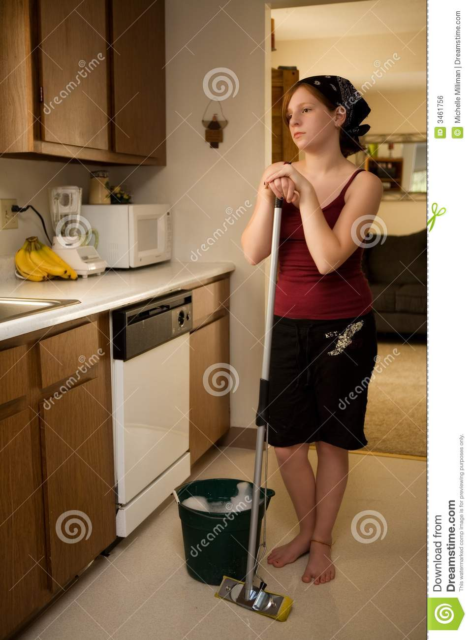 Preteen Chore Stock Photo Image Of Lean Help Female