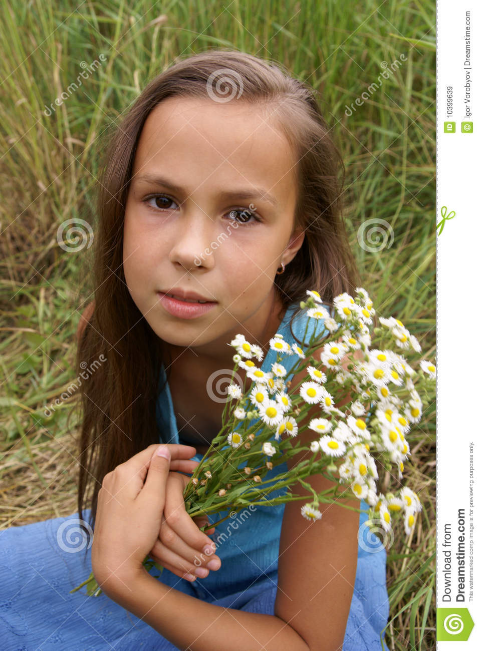 Preteen Girl On Grass Background Stock Image Image 10399639
