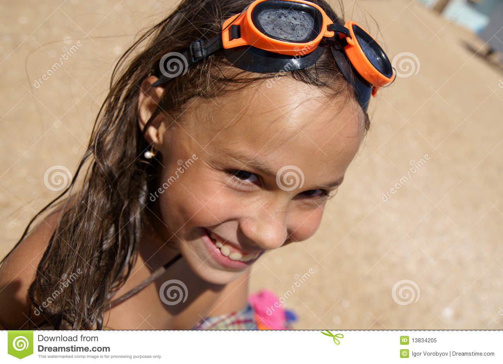 Portrait Cheerful Preteen Girl Enjoying Sunbath Stock