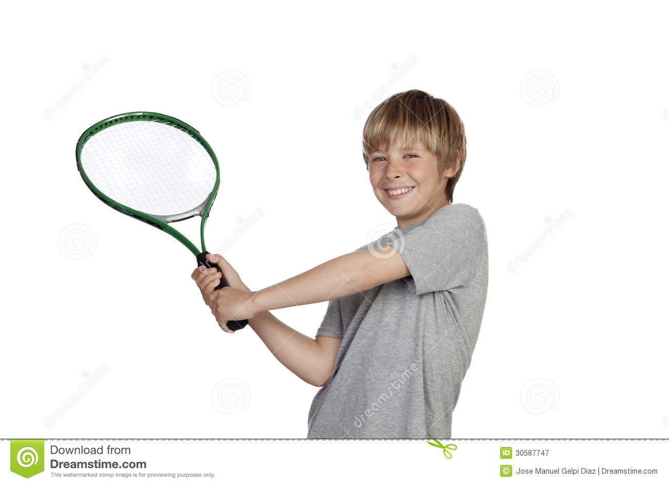 Preteen playing tennis holding racket isolated on white background.