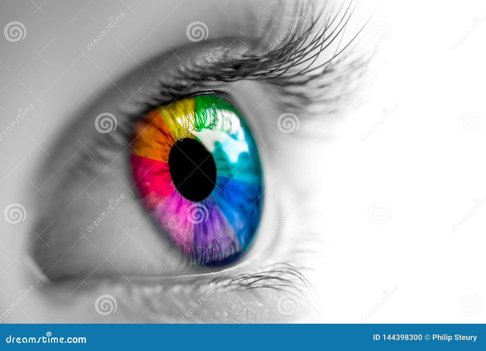 Preto & branco com olho do arco-íris
