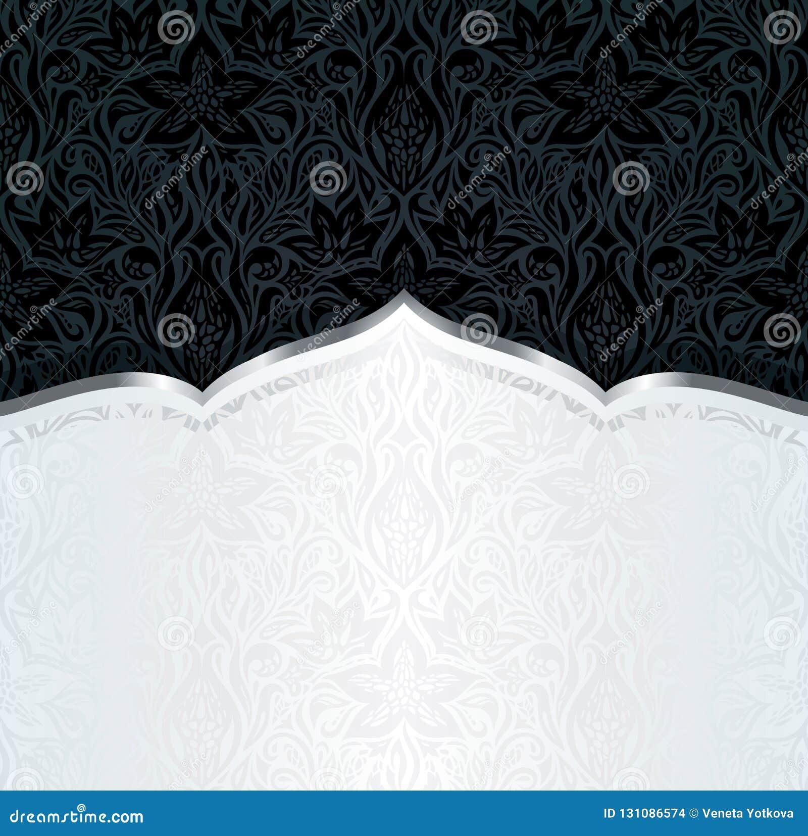 Preto decorativo & do fundo luxuoso floral do papel de parede do ouro projeto na moda da mandala da forma