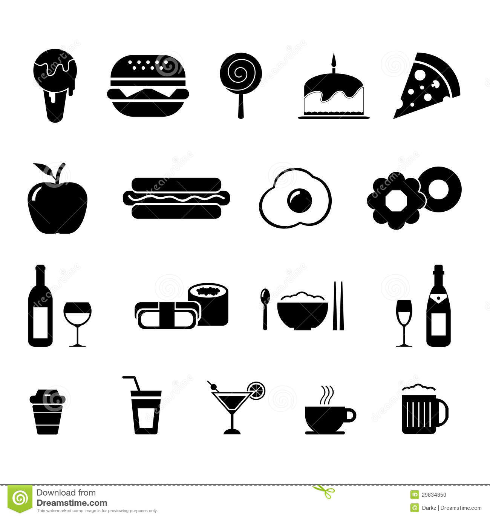 Grupo do ícone do alimento e da bebida