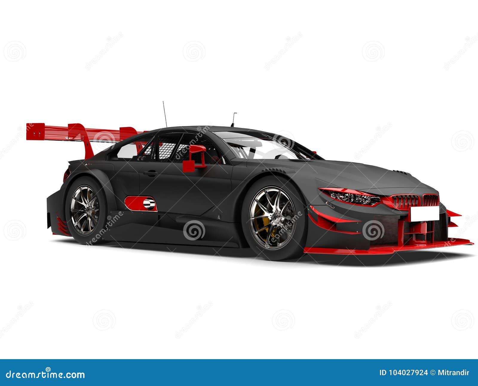 Preto matte que compete o carro super com detalhes vermelhos