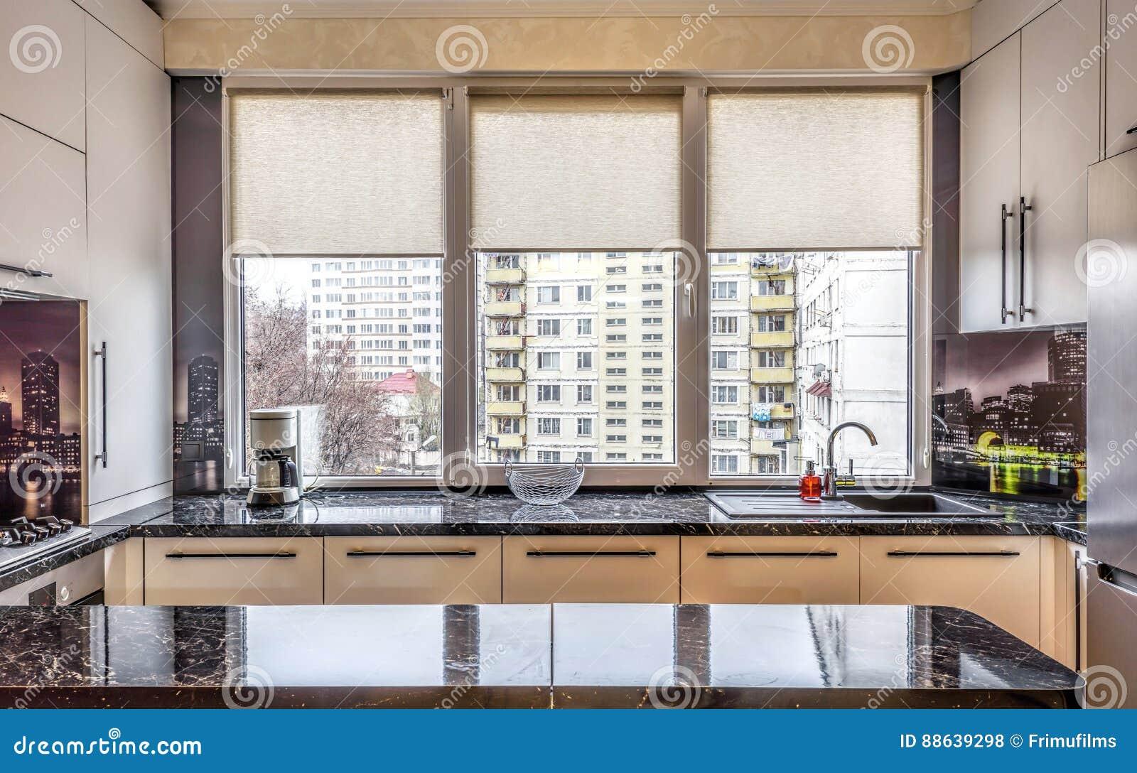 Preto Moderno Contempor Neo Cozinha Colorida Foto De Stock Imagem
