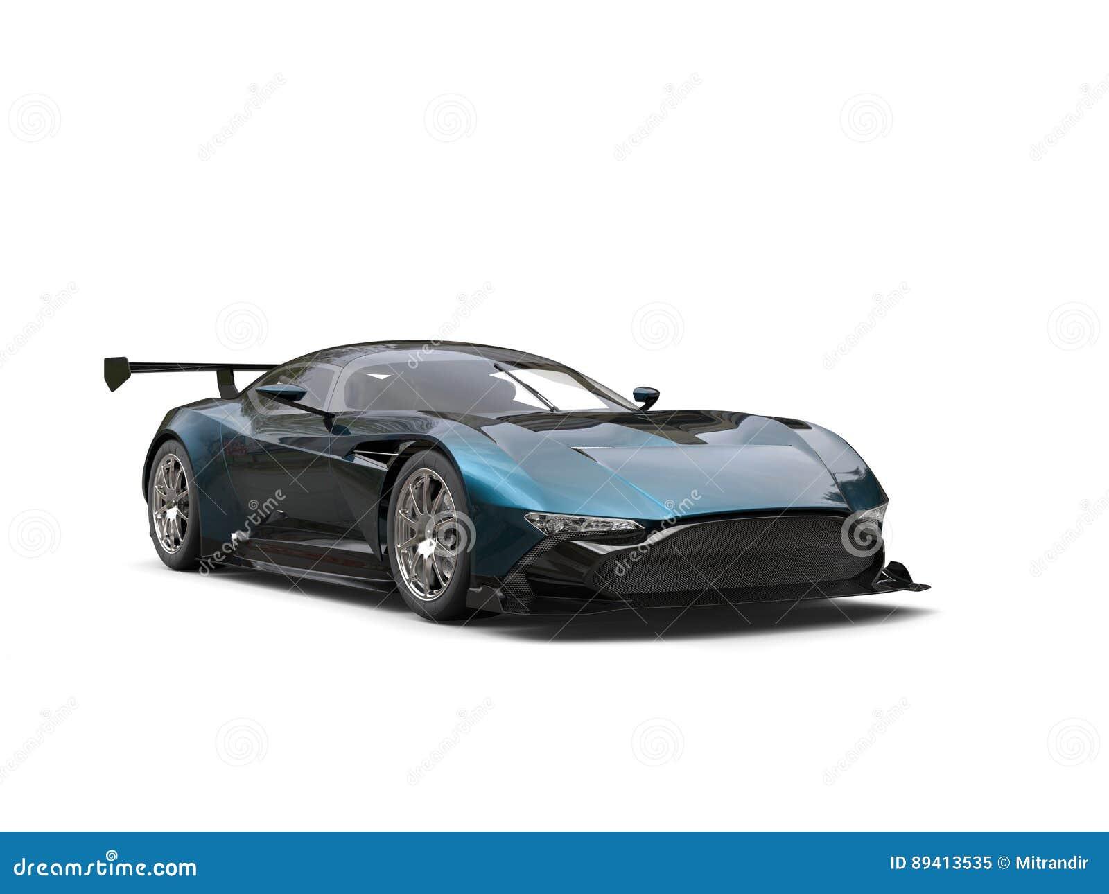 Preto Pearlescent com o carro de esportes moderno do tom azul