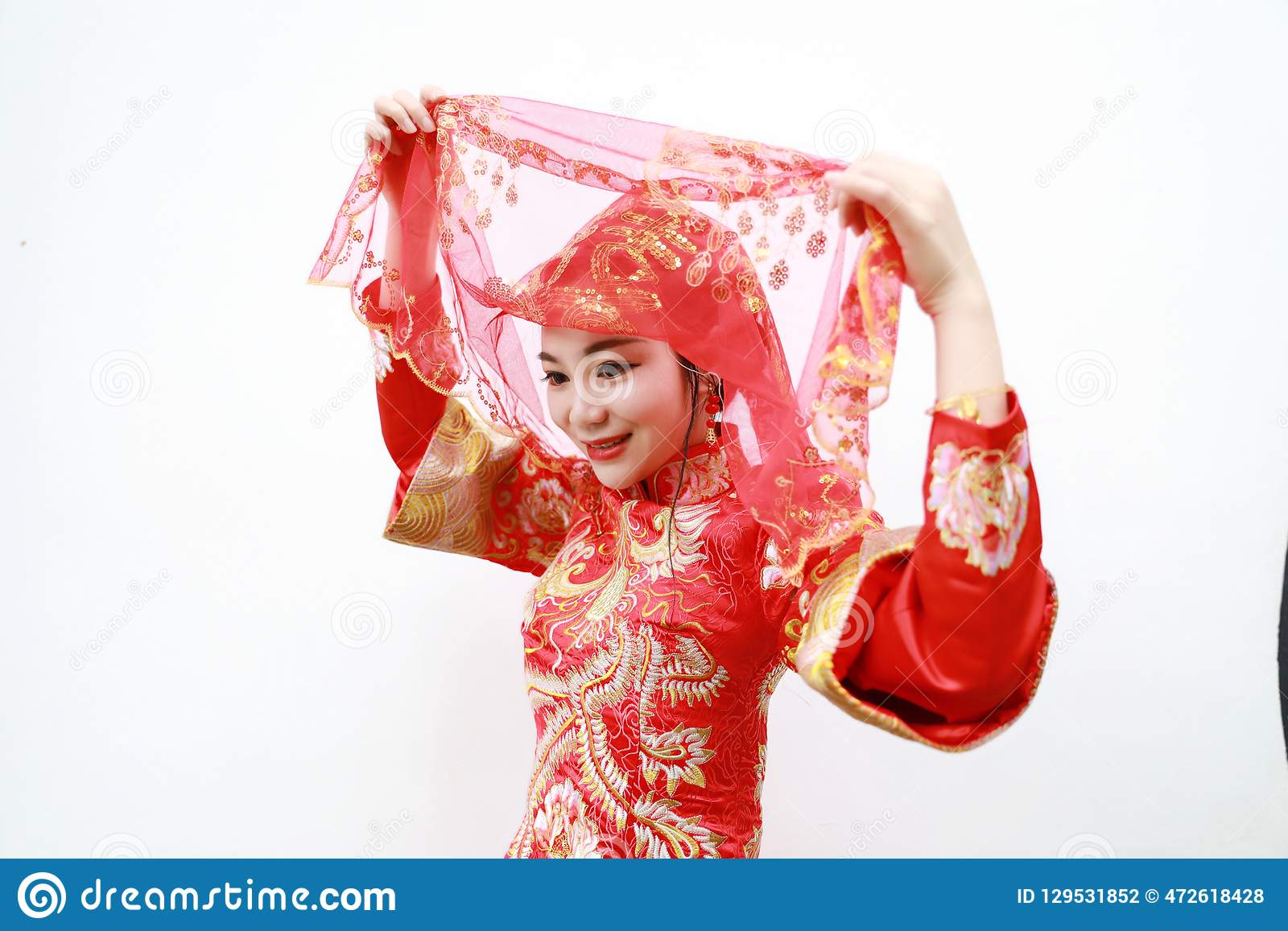 Pretty Asian Chinese Beautiful Bride With Traditional