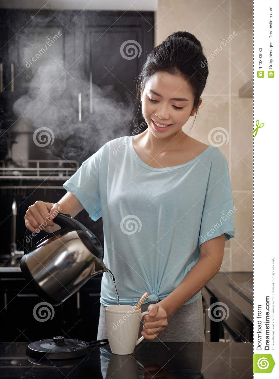 Asian Woman Brewing Drink In Kitchen Stock Image - Image of lady ...
