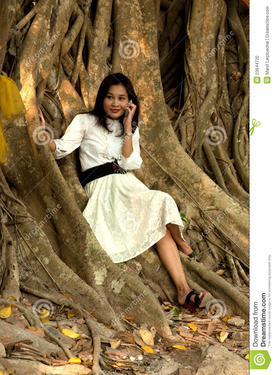 Pretty Asian woman on phone at old root tree .
