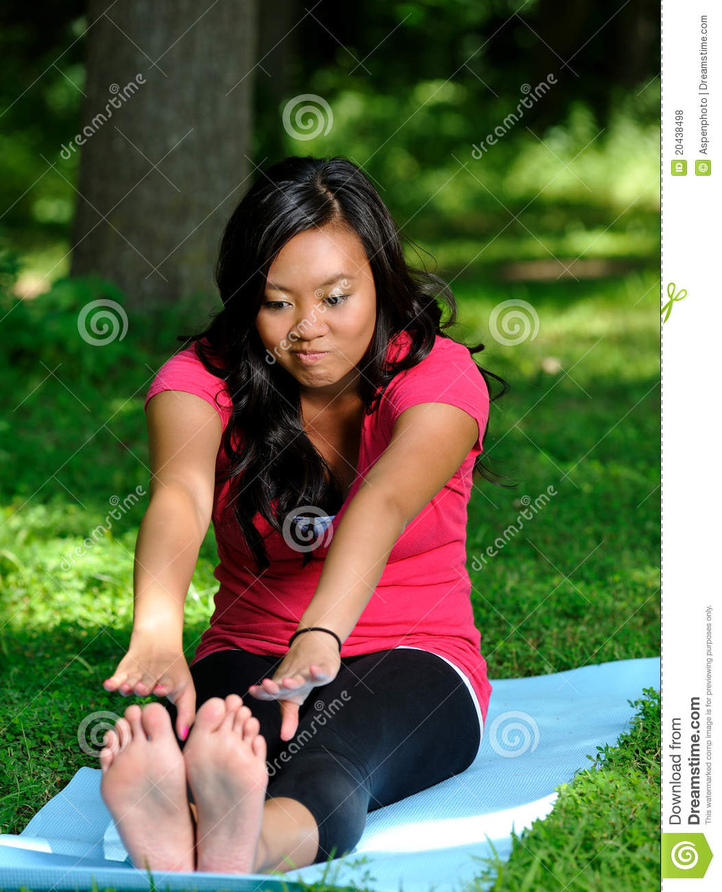 Pretty Asian Woman - Yoga In The Park Stock Photo - Image
