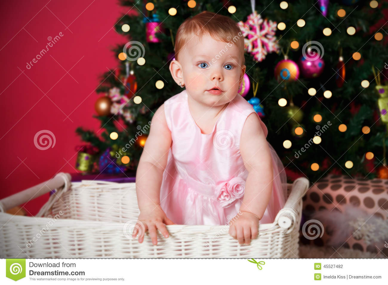 pretty baby girl at christmas stock photo - image of ornament