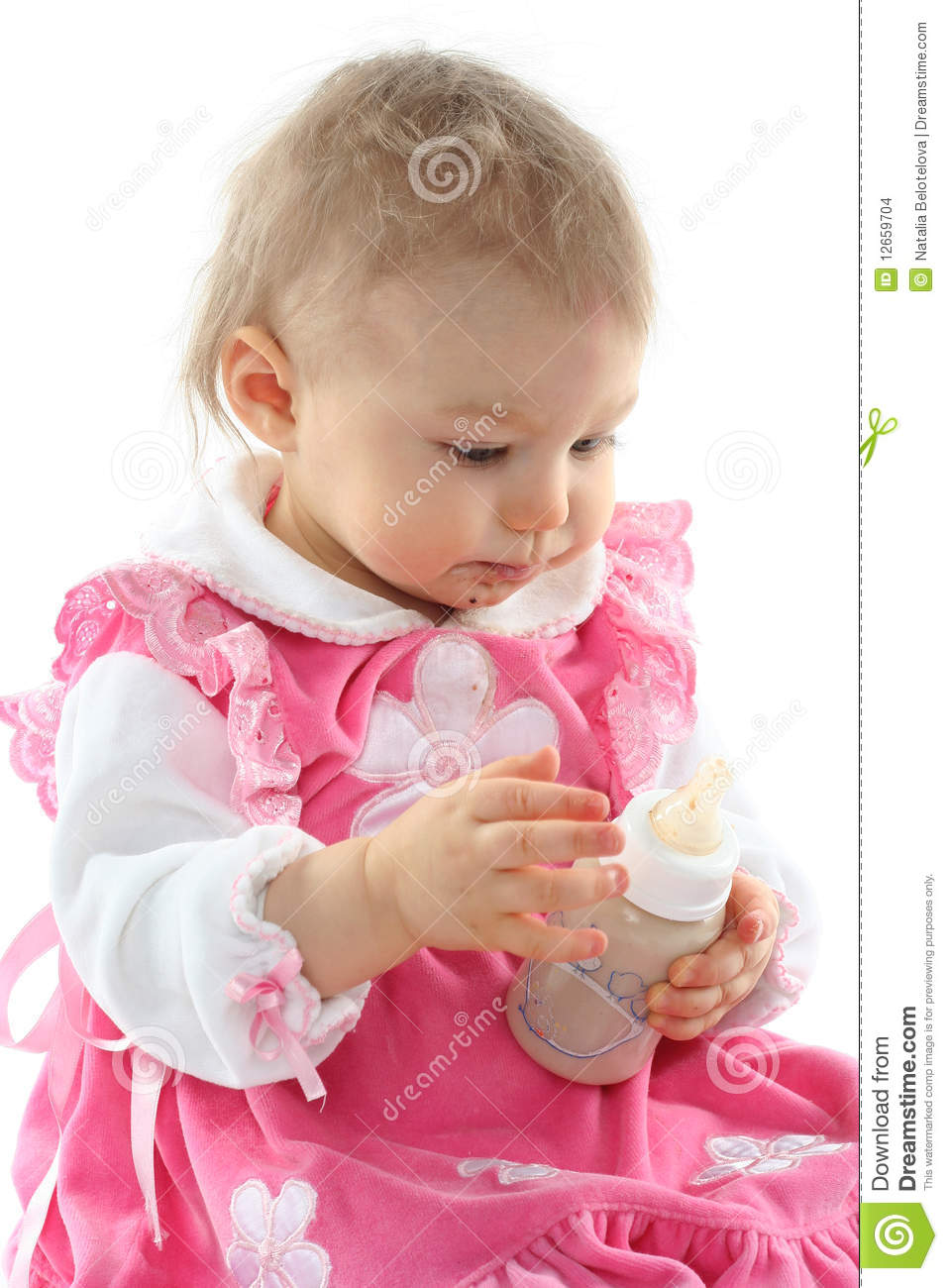 Pretty Baby Girl Is Drinking Milk Stock Images Image