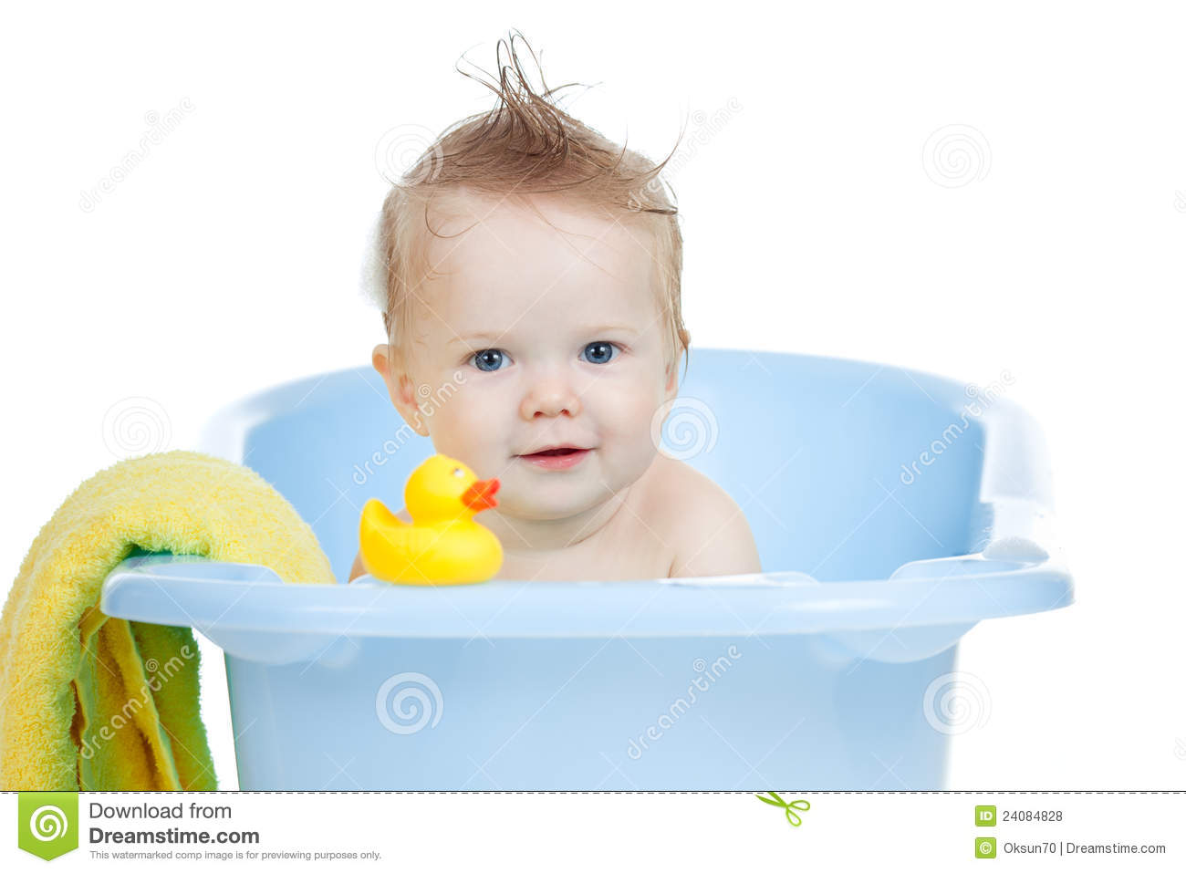 Pretty Baby Having Bath In Blue Tub Stock Photo - Image of care ...
