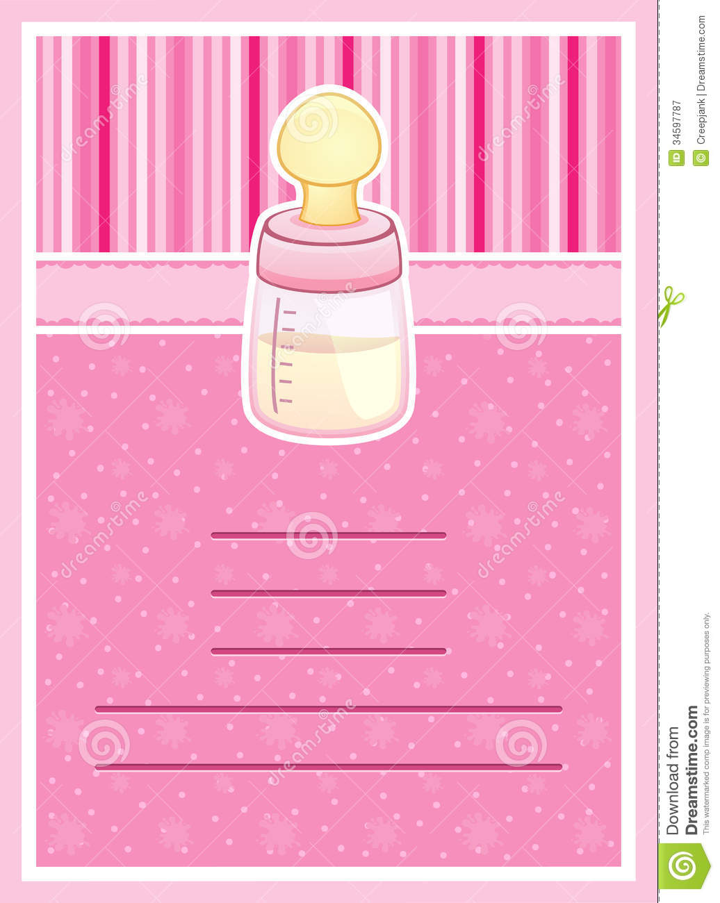 pretty baby shower invitation card  baby bottle royalty