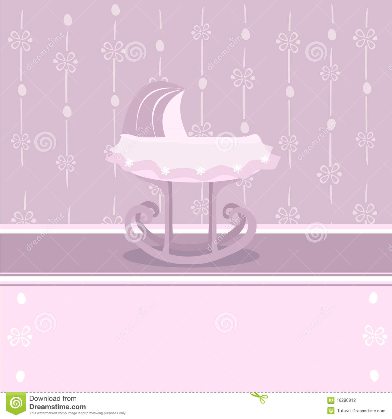 pretty background with baby cradle for girl stock