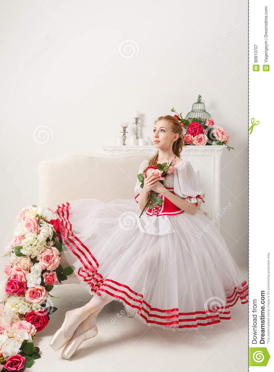 Pretty Ballerina Holding Flowers Stock Image Image Of Contemporary