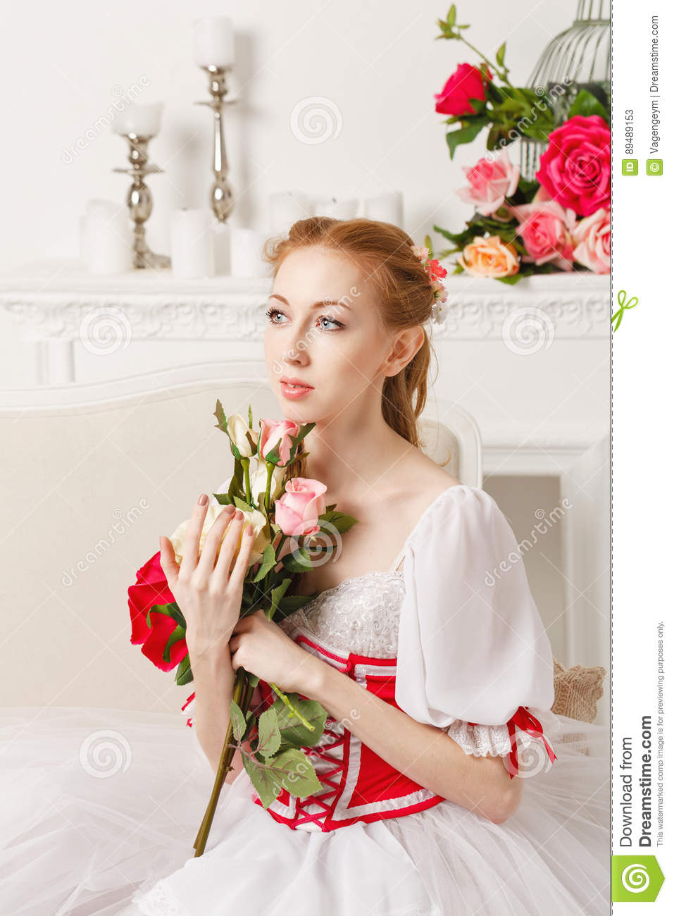 Pretty Ballerina Holding Flowers Stock Image Image Of Artist