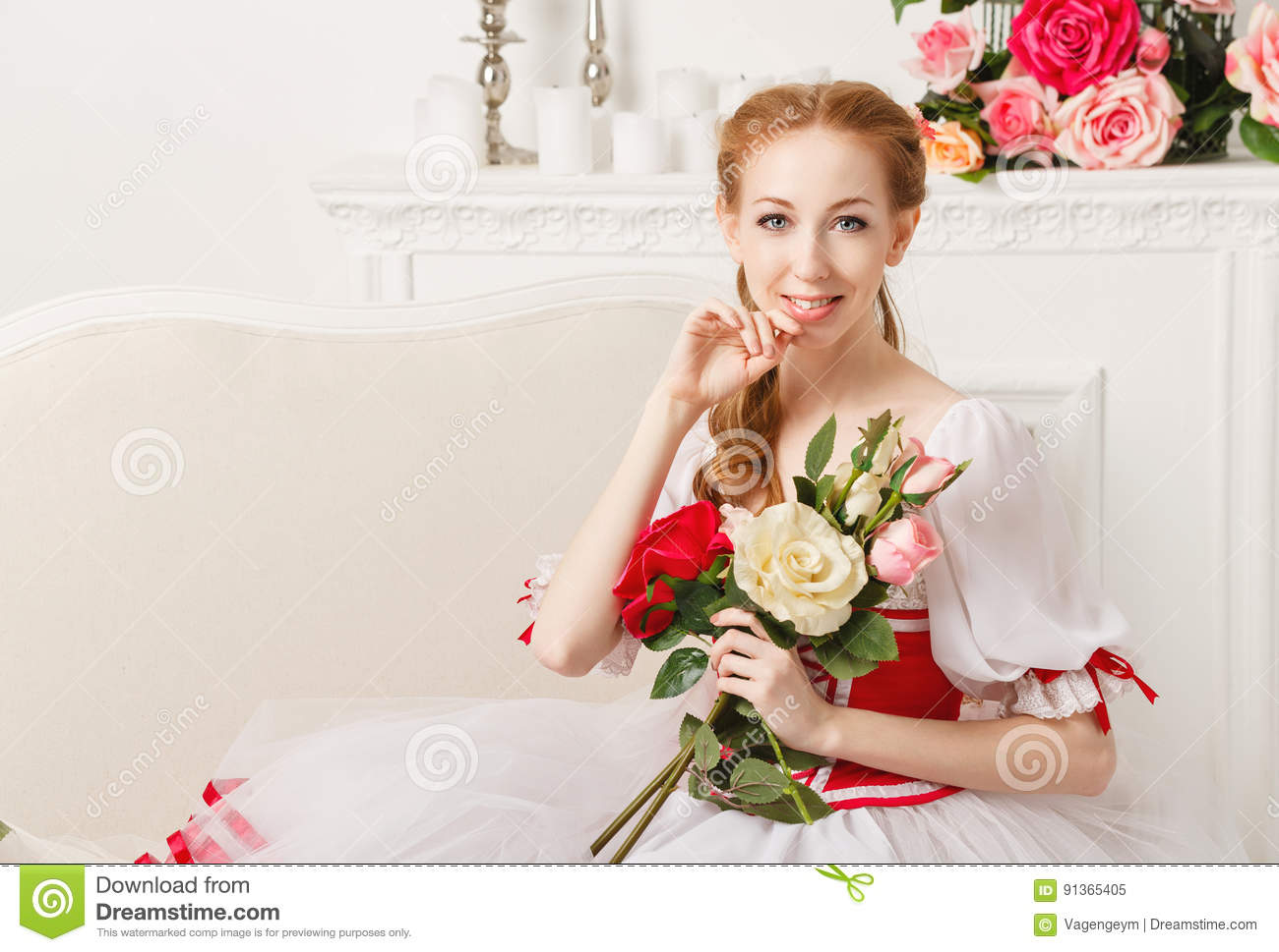 Pretty Ballerina Holding Flowers Stock Image Image Of Attractive