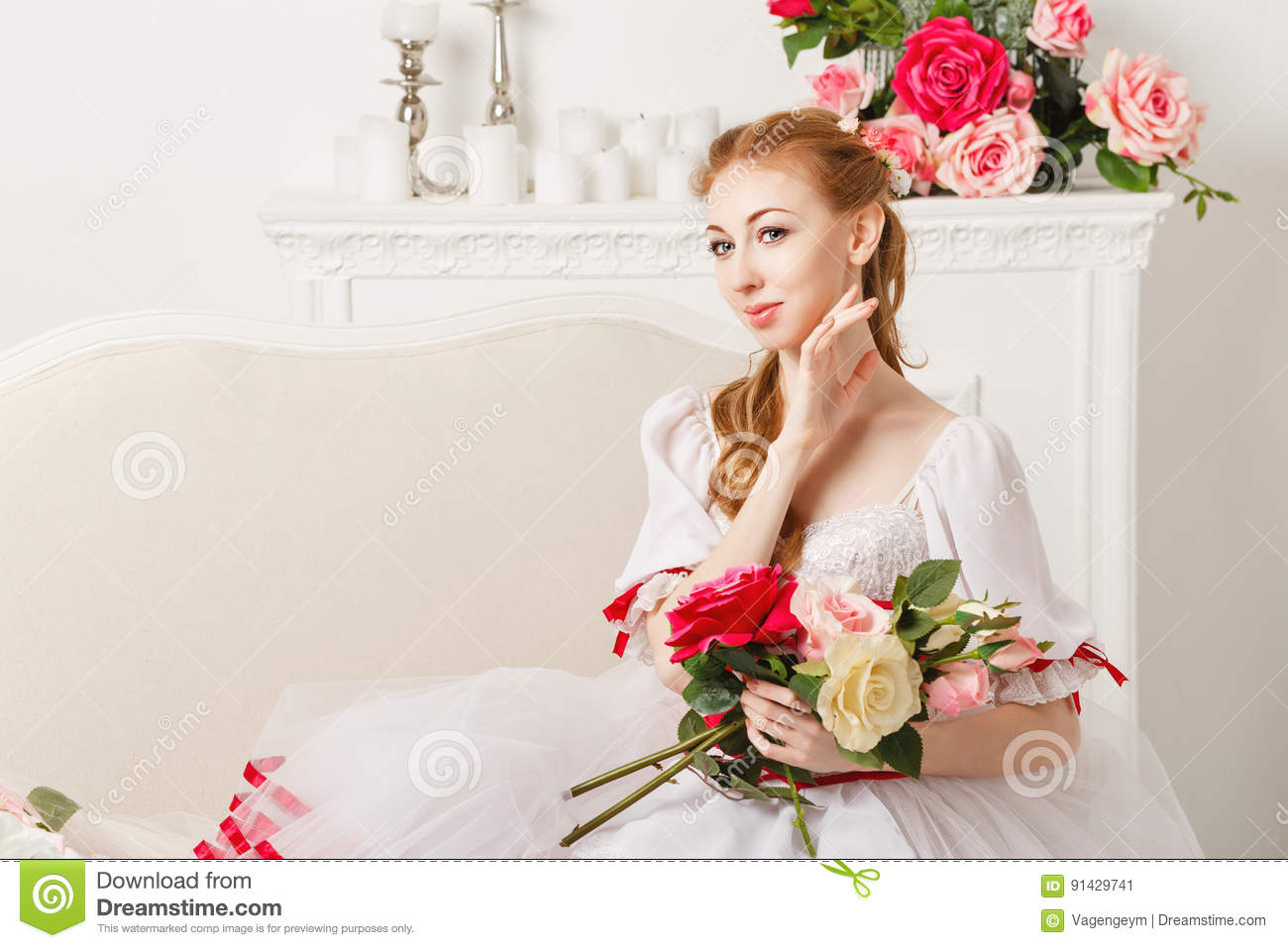 Pretty Ballerina Holding Flowers Stock Image Image Of Classical