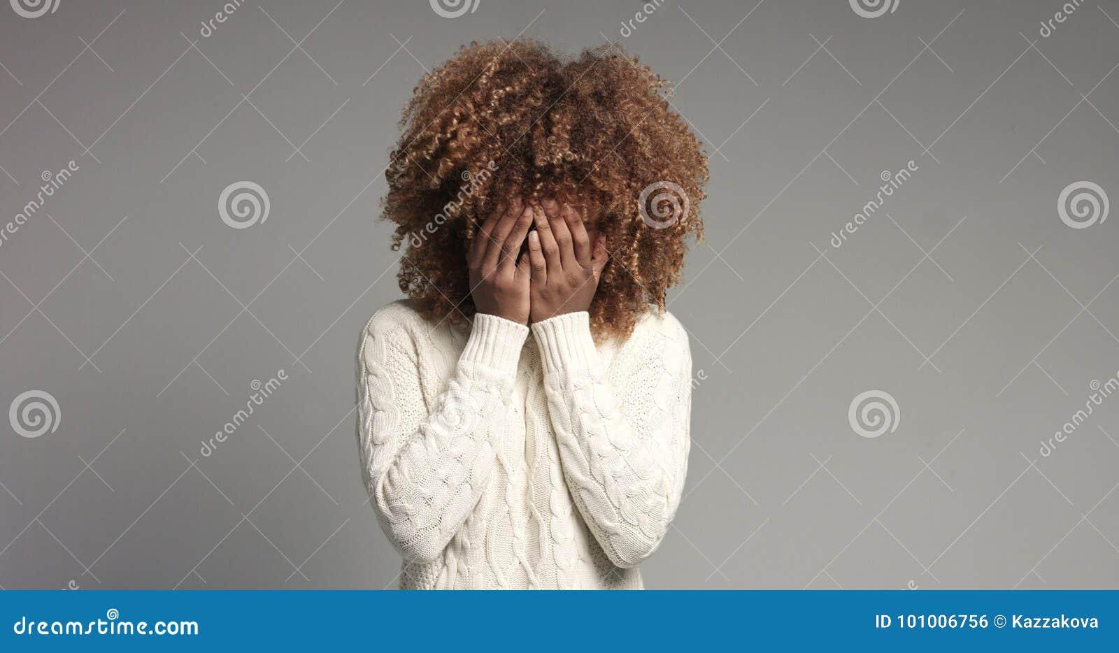 Shy black girl