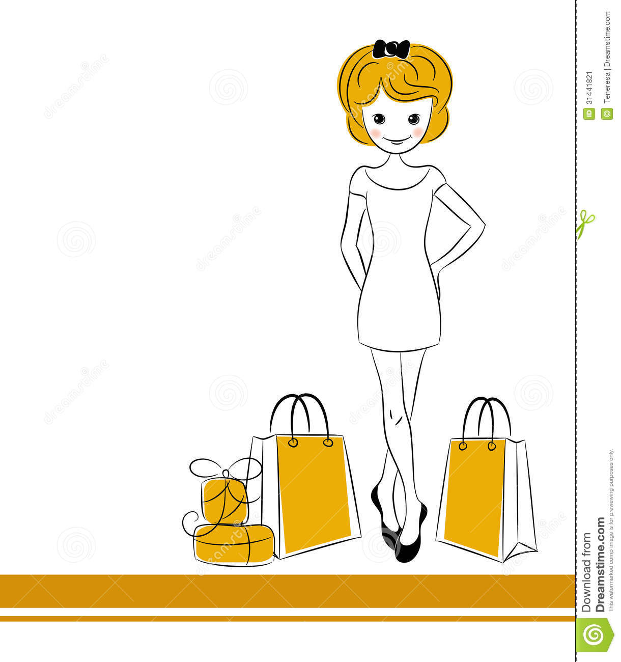 Pretty blond girl with sale bags. . Editable vector illustration