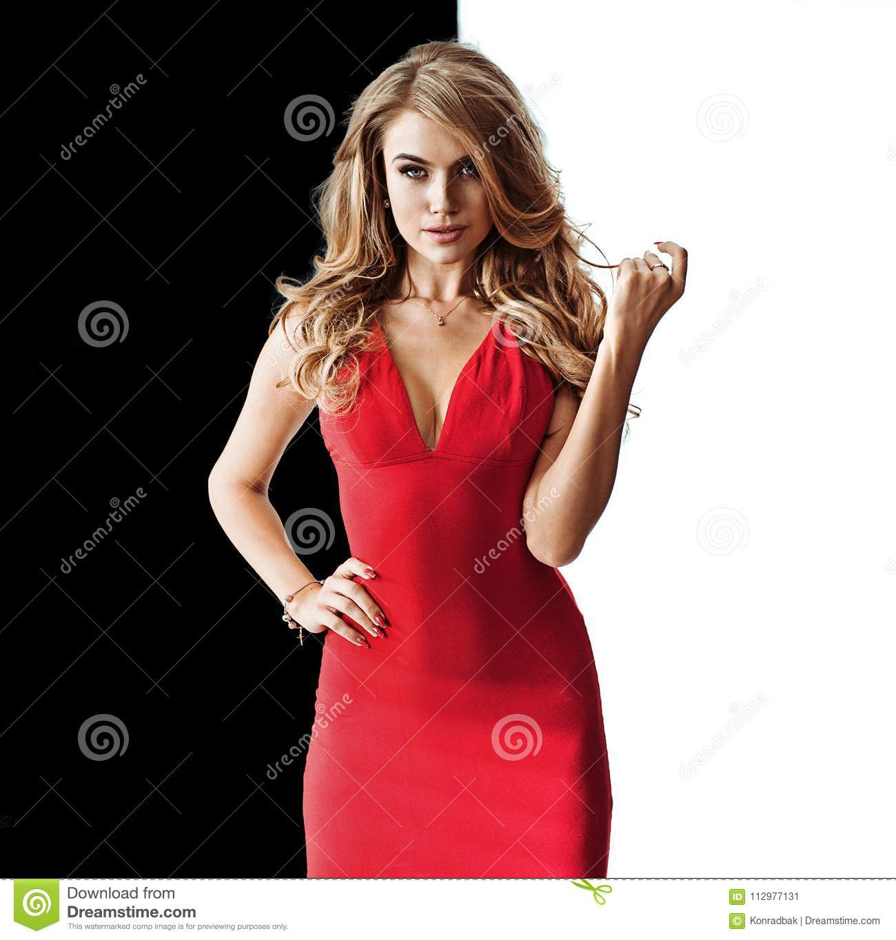 Pretty blond lady on the black-white background