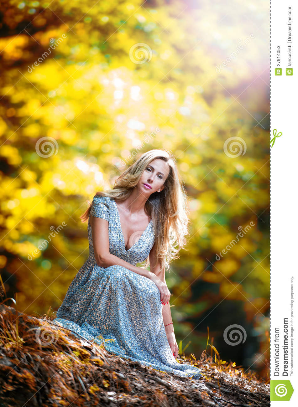 Pretty Blonde Fairy Lady With White Dress Stock Image Image Of