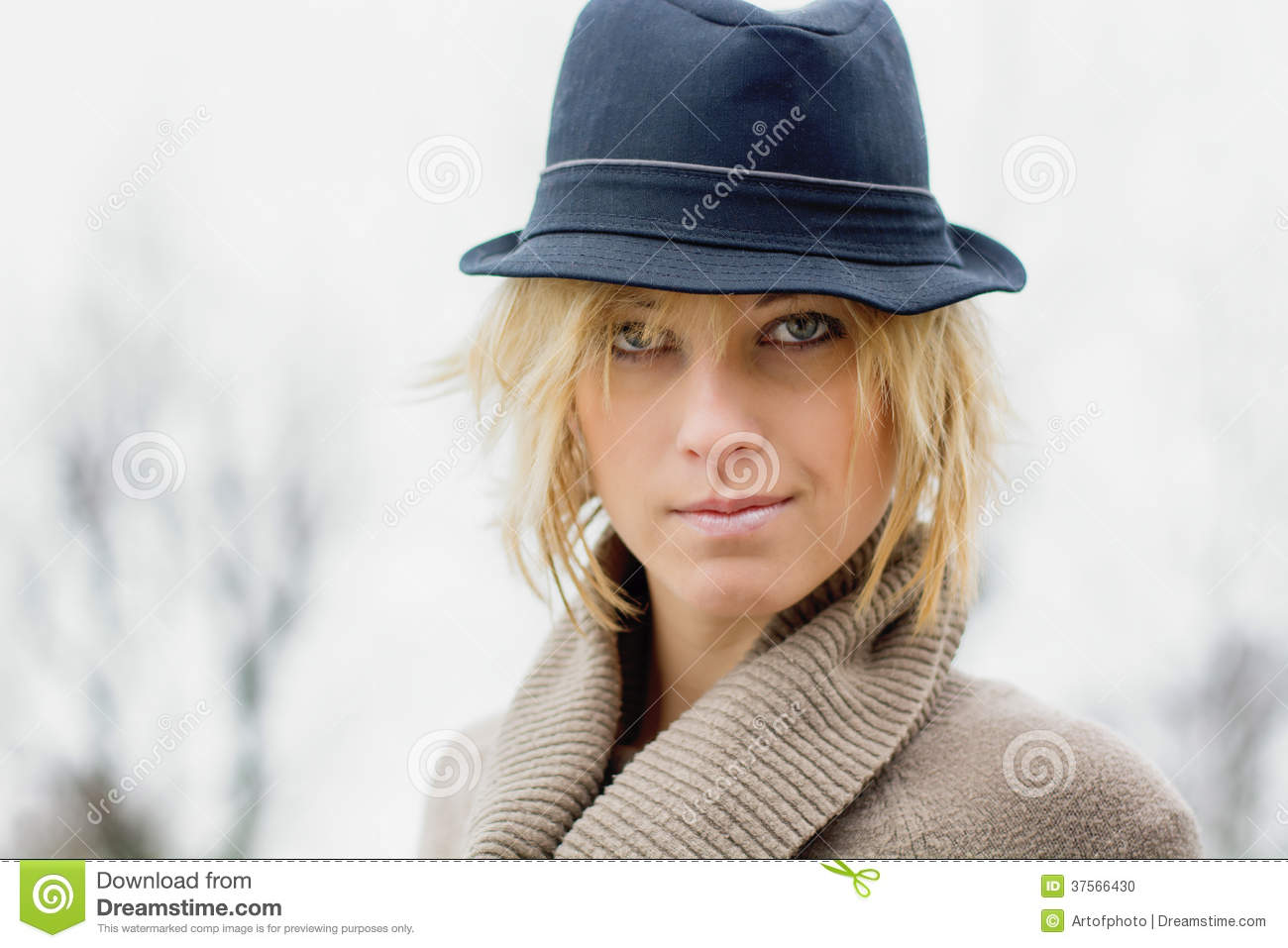 Pretty Blonde Girl With Fedora Hat Stock Photo - Image of female ... bfac15e7bfe