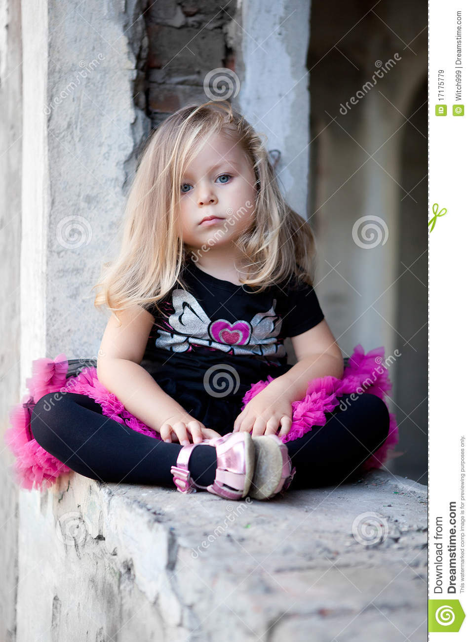 Pretty Blonde Girl Sitting On Ruins Royalty Free Stock ...
