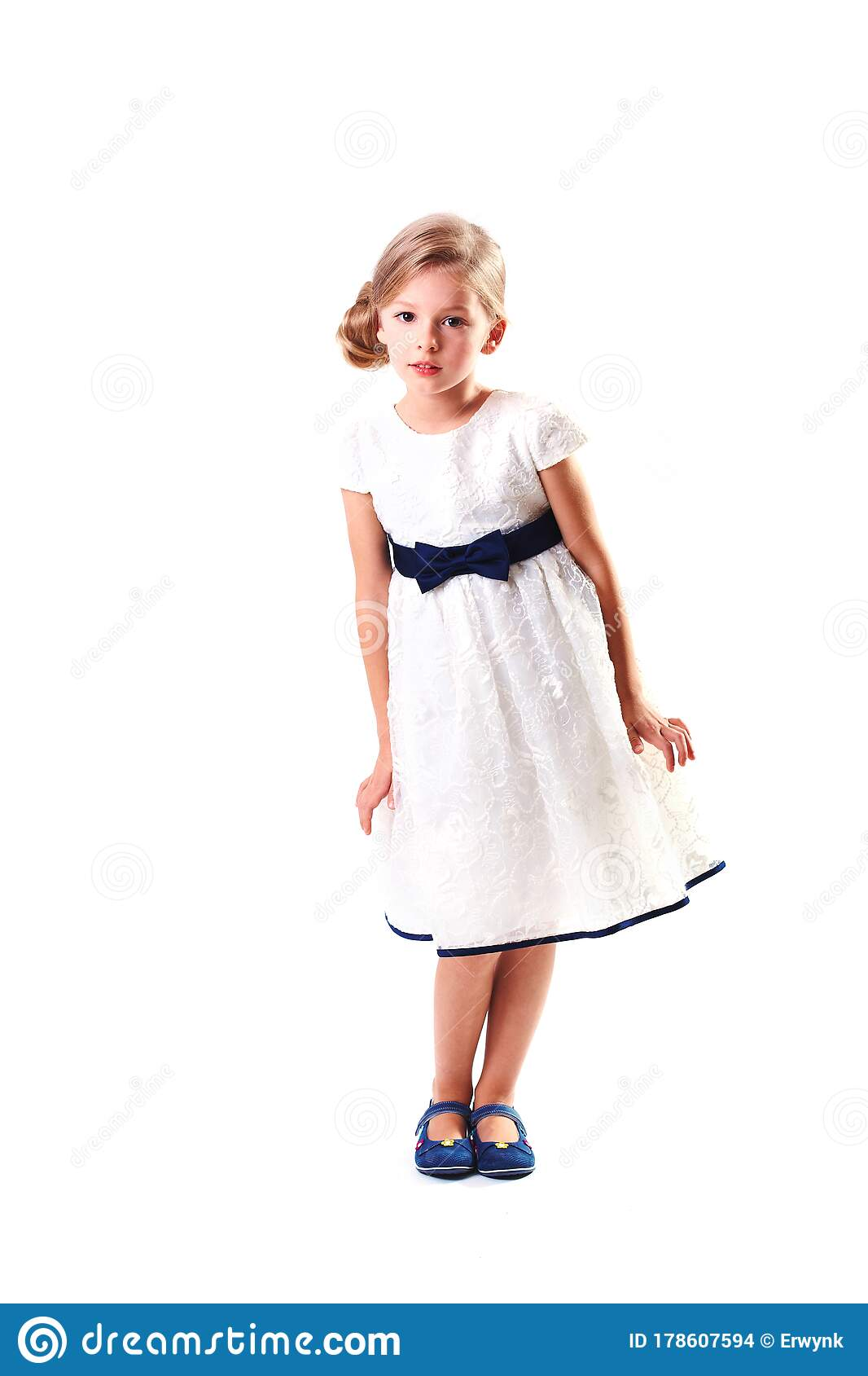 Pretty Blondie Six Years Old Small Girl On White ...