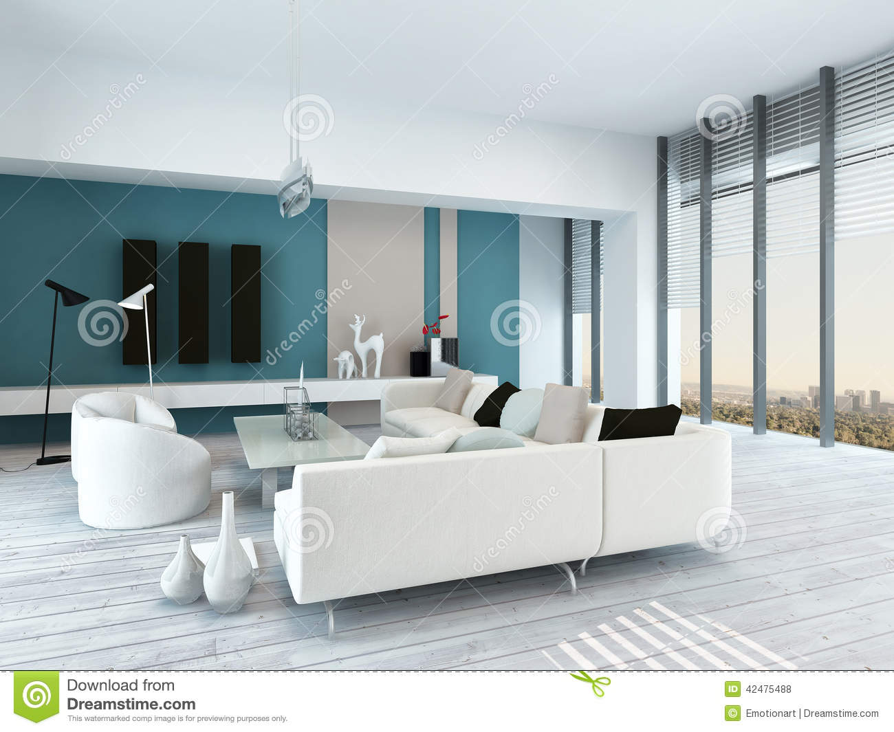 Pretty Blue And White Living Room Interior Stock Illustration  # Living Blanc