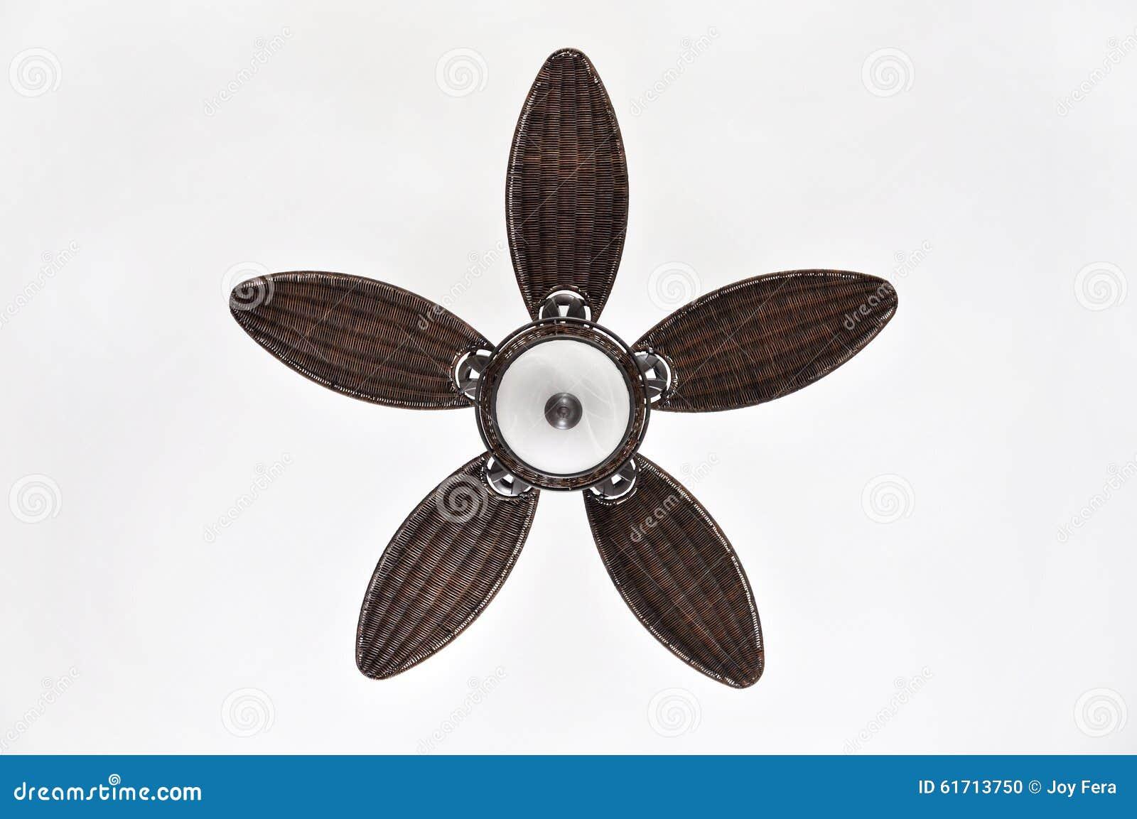 Pretty White Ceiling Fans: Pretty Brown Wicker Ceiling Fan Against White Background