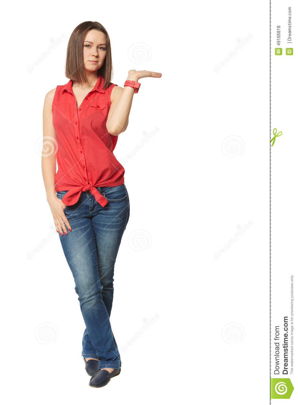 Pretty Brunette In Blue Jeans And A Red Shirt On Stock Photo ...
