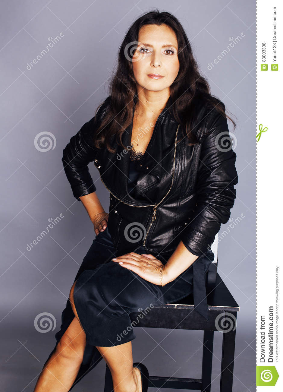 in leather Black sexy women mature