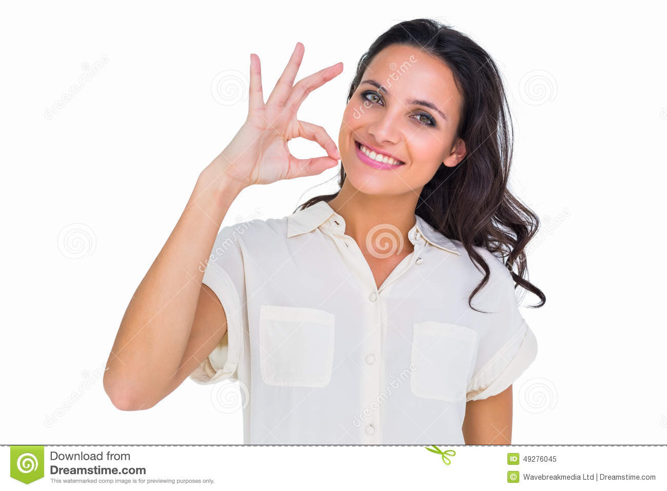 Happy Beautiful Young Woman Showing OK Sign Stock Image