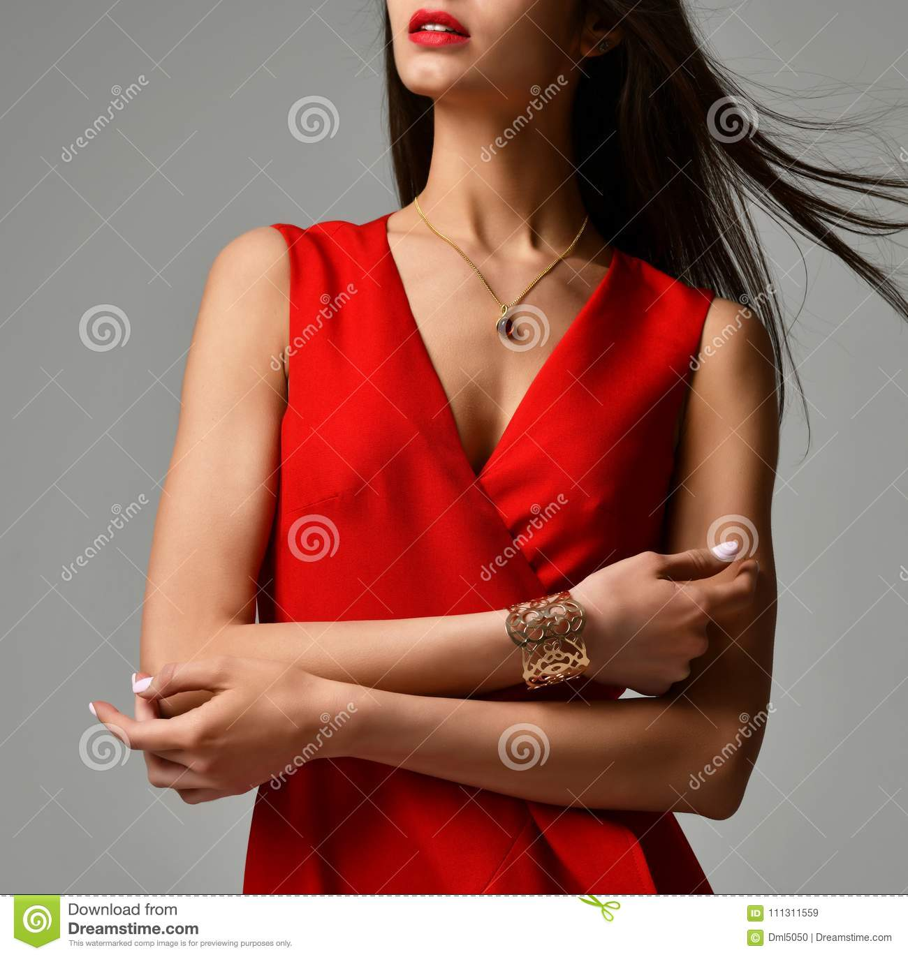Download Pretty Brunette Woman In Formal Red Dress On Grey Stock Image Image Of Desire